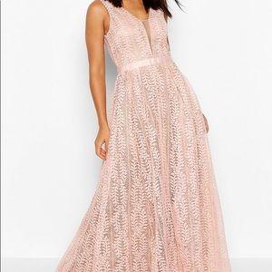 Boohoo Pink Lace Bridesmaids Dress NEW